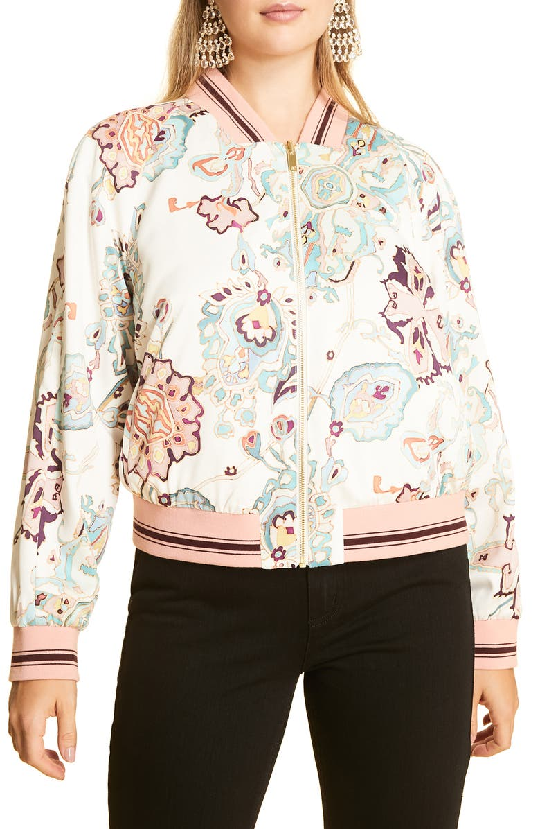 MARINA RINALDI Cultura Reversible Bomber Jacket, Main, color, BEIGE