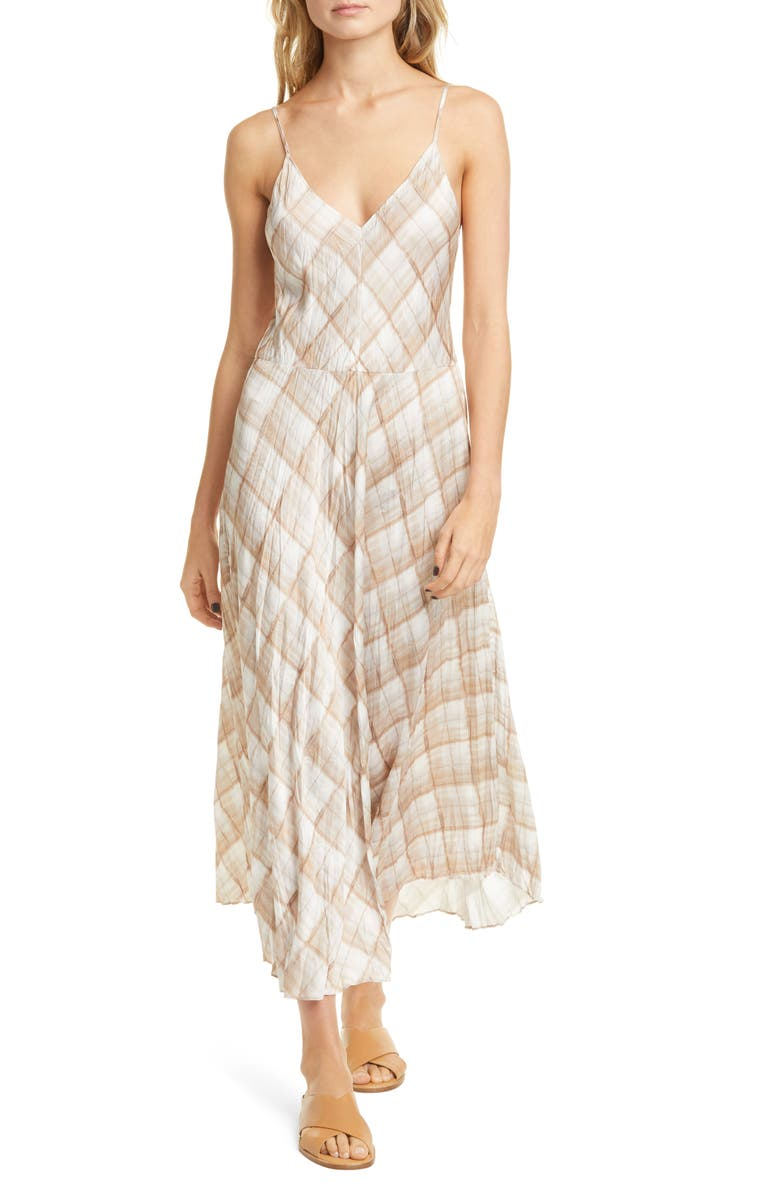 VINCE Hazy Plaid Cami Dress, Main, color, SUN TAUPE