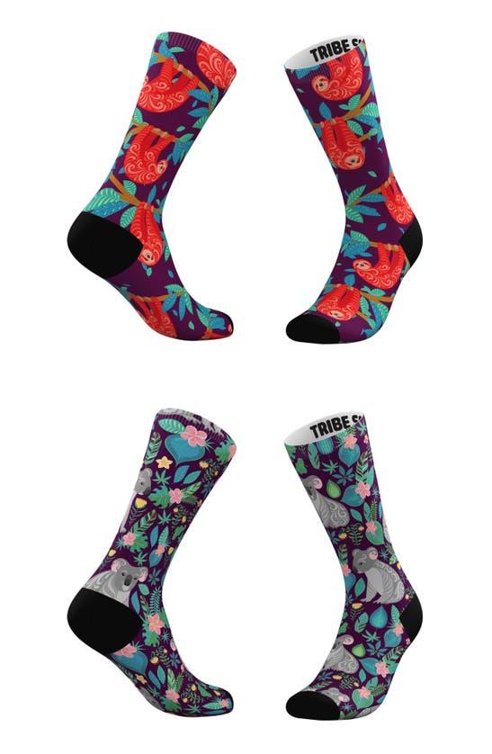 TRIBE SOCKS Socks ASSORTED 2-PACK SLOTHS & KOALAS CREW SOCKS