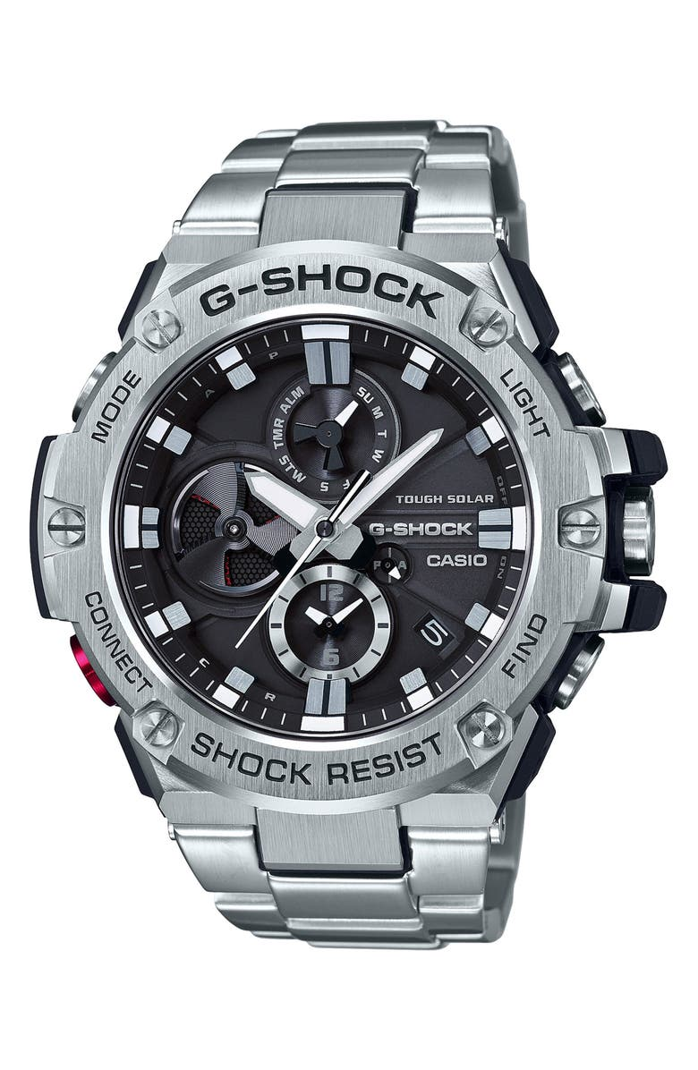 G-SHOCK BABY-G G-Steel Chronograph Watch, 53.8mm, Main, color, SILVER/ BLACK