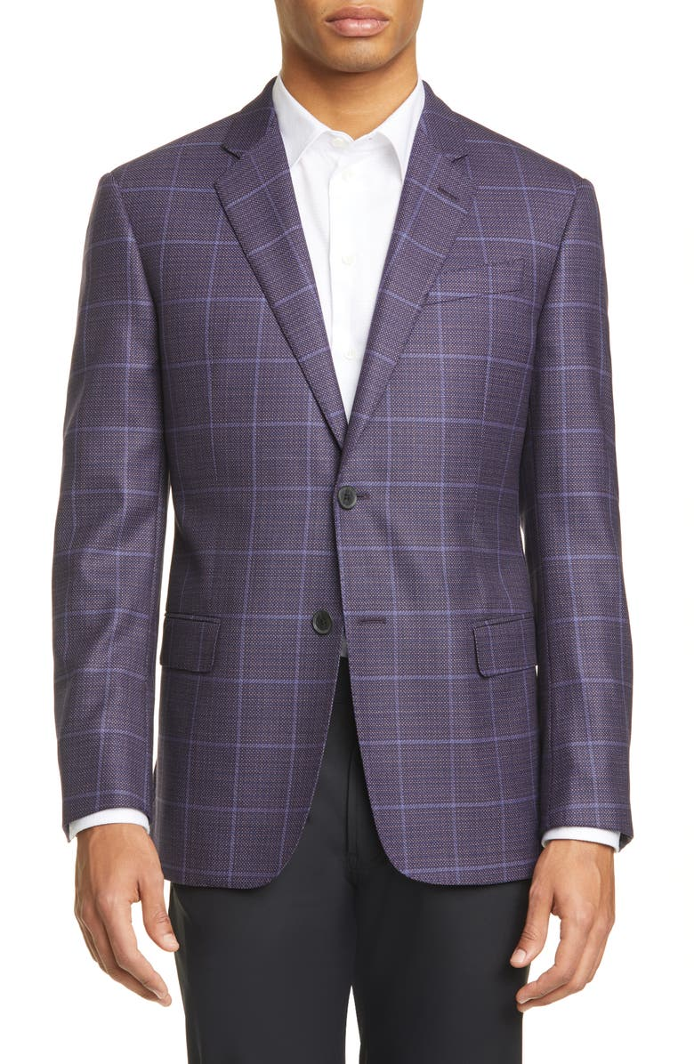 EMPORIO ARMANI G Line Trim Fit Windowpane Wool Sport Coat, Main, color, PURPLE