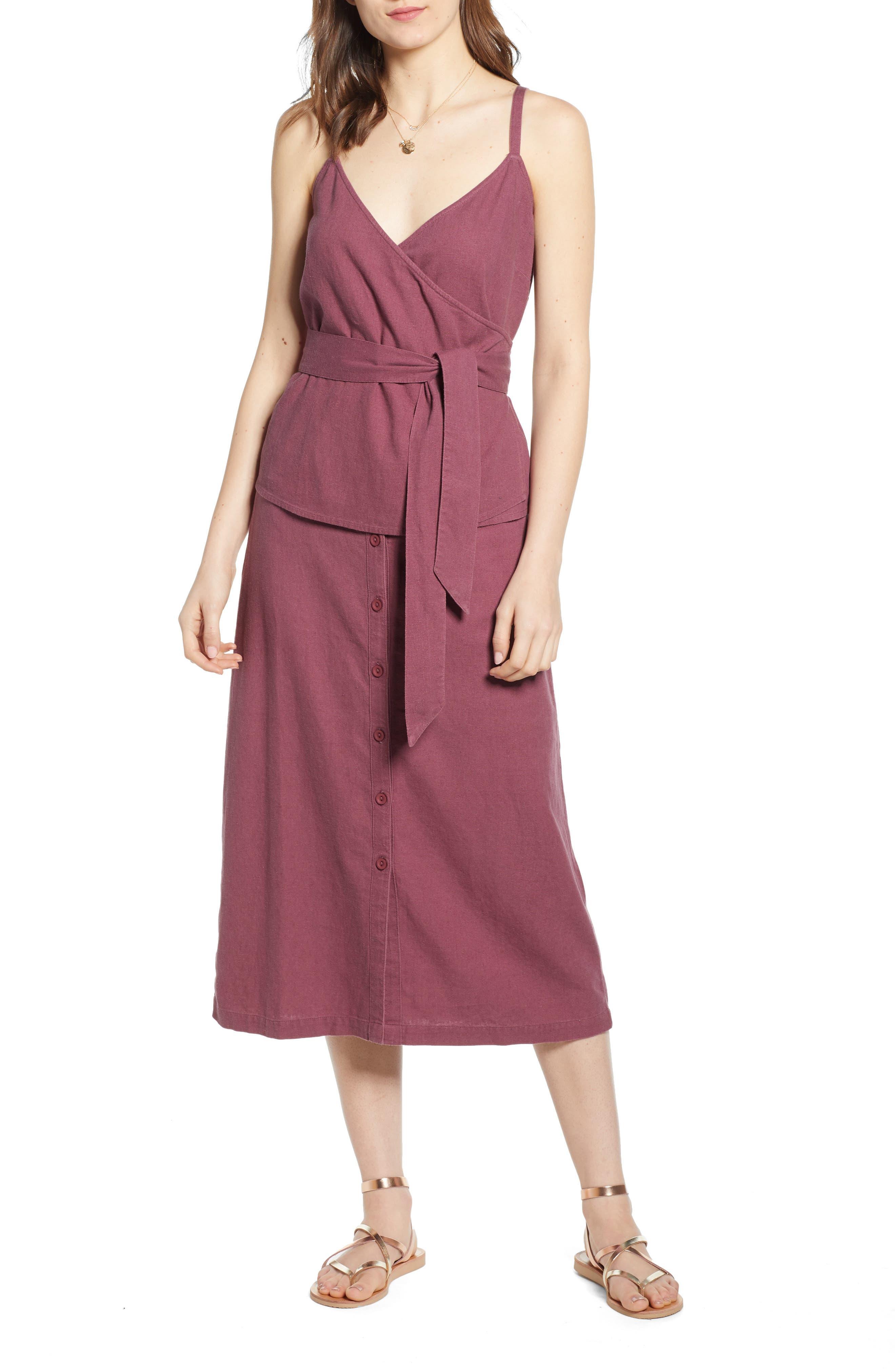 ,                             Button Front Linen Blend Midi Skirt,                             Alternate thumbnail 7, color,                             BURGUNDY CRUSH