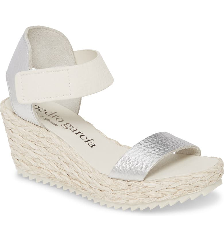 PEDRO GARCIA Francesca Raffia Wedge Sandal, Main, color, 040