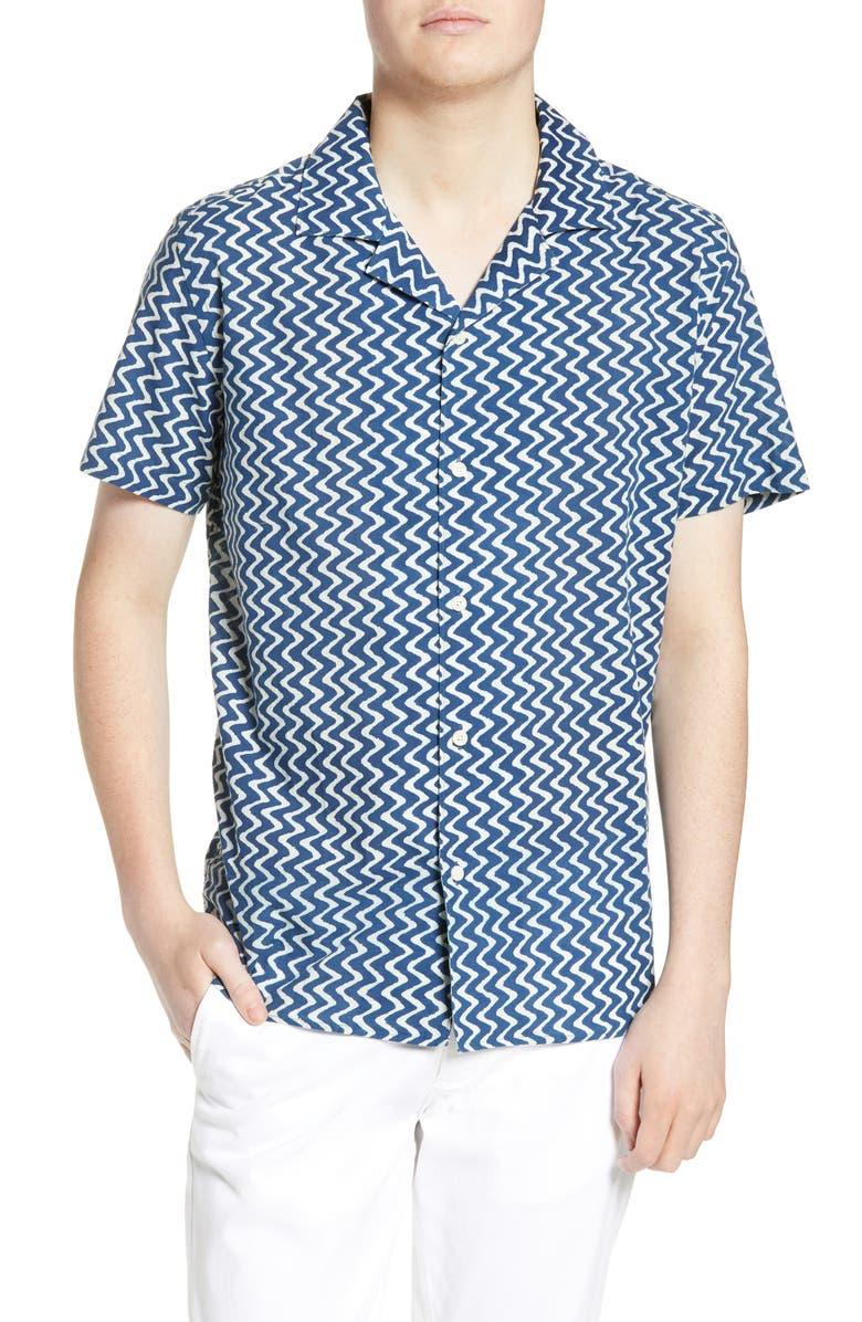 WAX LONDON Didcot Slim Fit Stripe Short Sleeve Shirt, Main, color, INDIGO VERTICAL WAVES