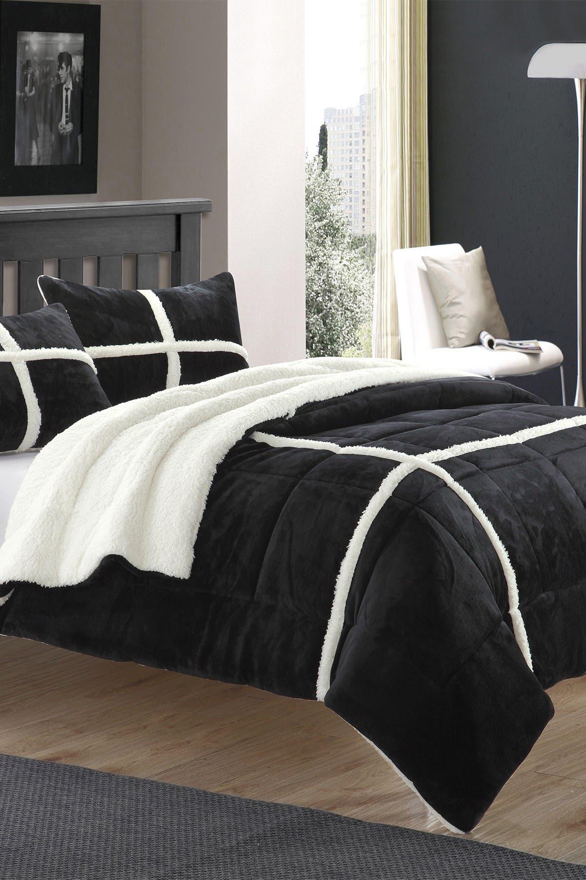 Chic Home Bedding King Camille Box Sherling Lined Comforter Set Black Nordstrom Rack