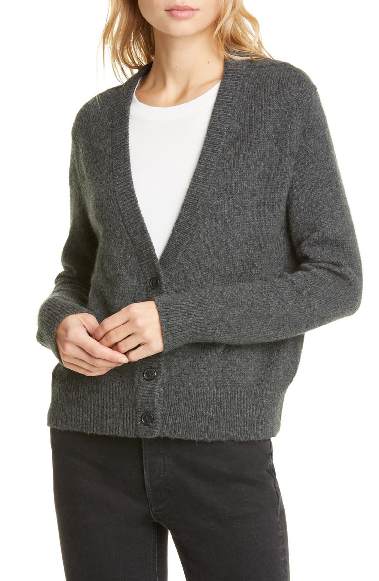 JENNI KAYNE Boyfriend Merino Wool Blend Cardigan, Main, color, CHARCOAL