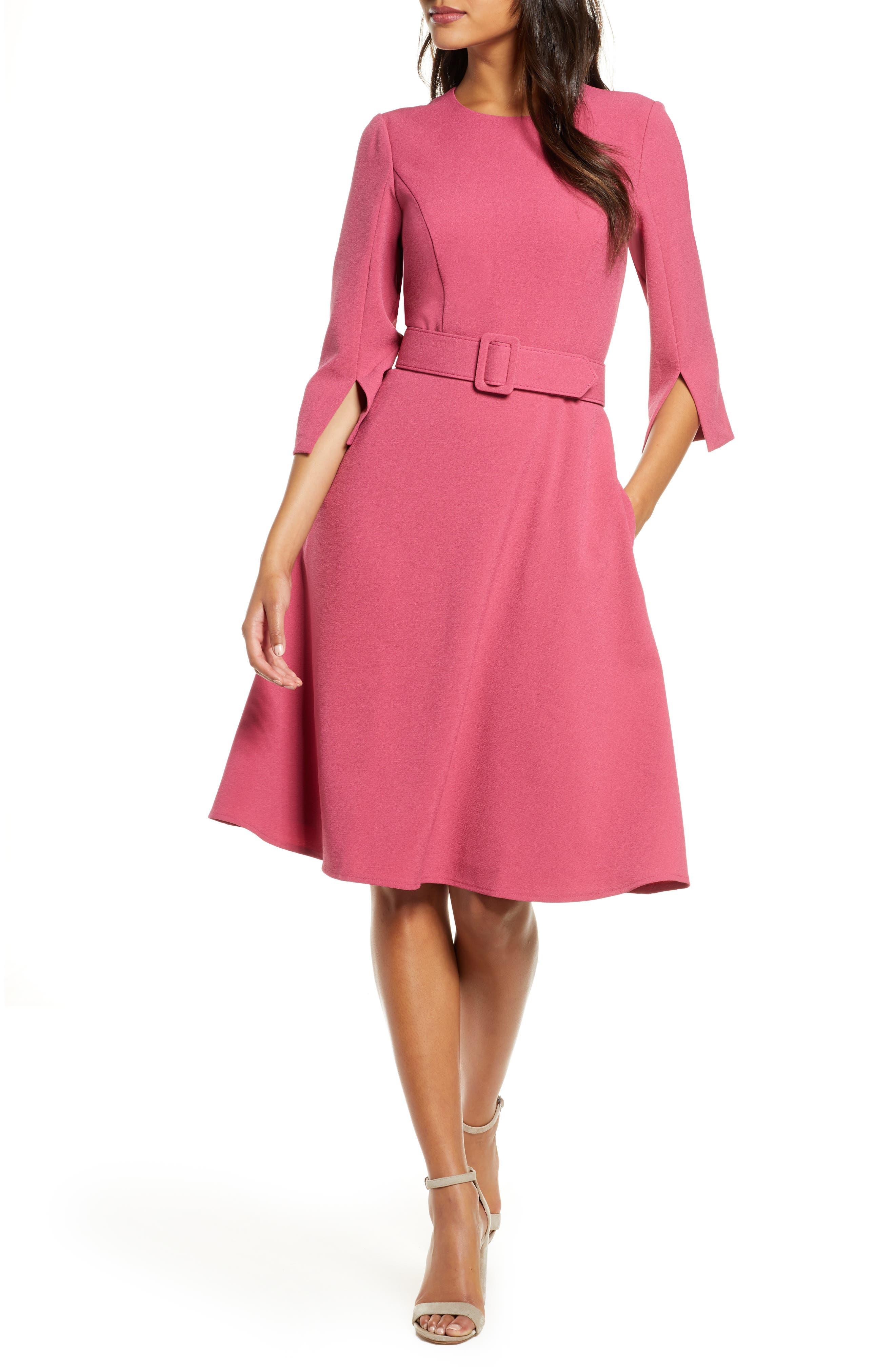 Vintage Evening Dresses and Formal Evening Gowns Womens Harper Rose Belted Fit  Flare Dress $148.00 AT vintagedancer.com