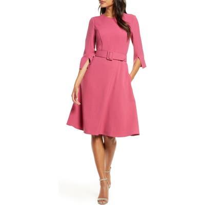 Petite Harper Rose Belted Fit & Flare Dress, Pink