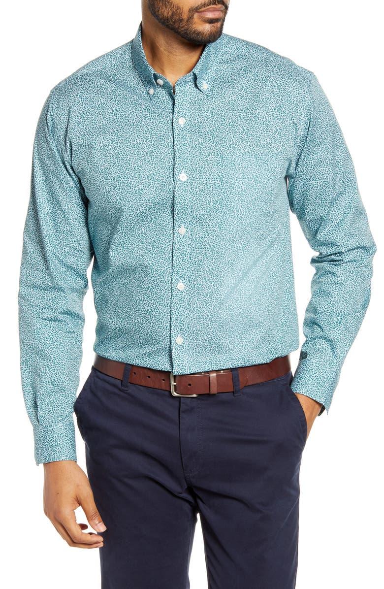 CUTTER & BUCK Strive Classic Fit Leaf Print Button-Down Shirt, Main, color, 483