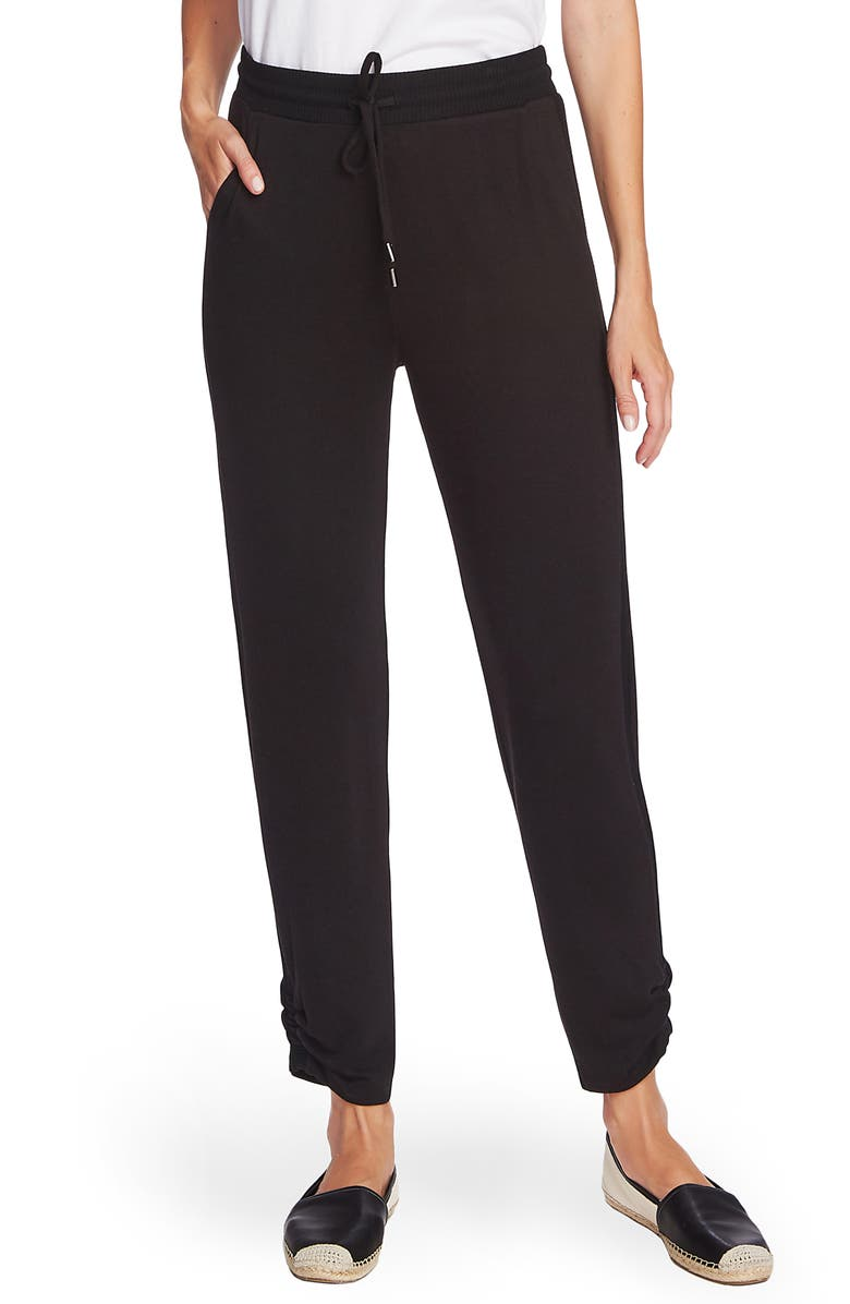 VINCE CAMUTO Cozy Ruched Leg Jogger Pants, Main, color, RICH BLACK