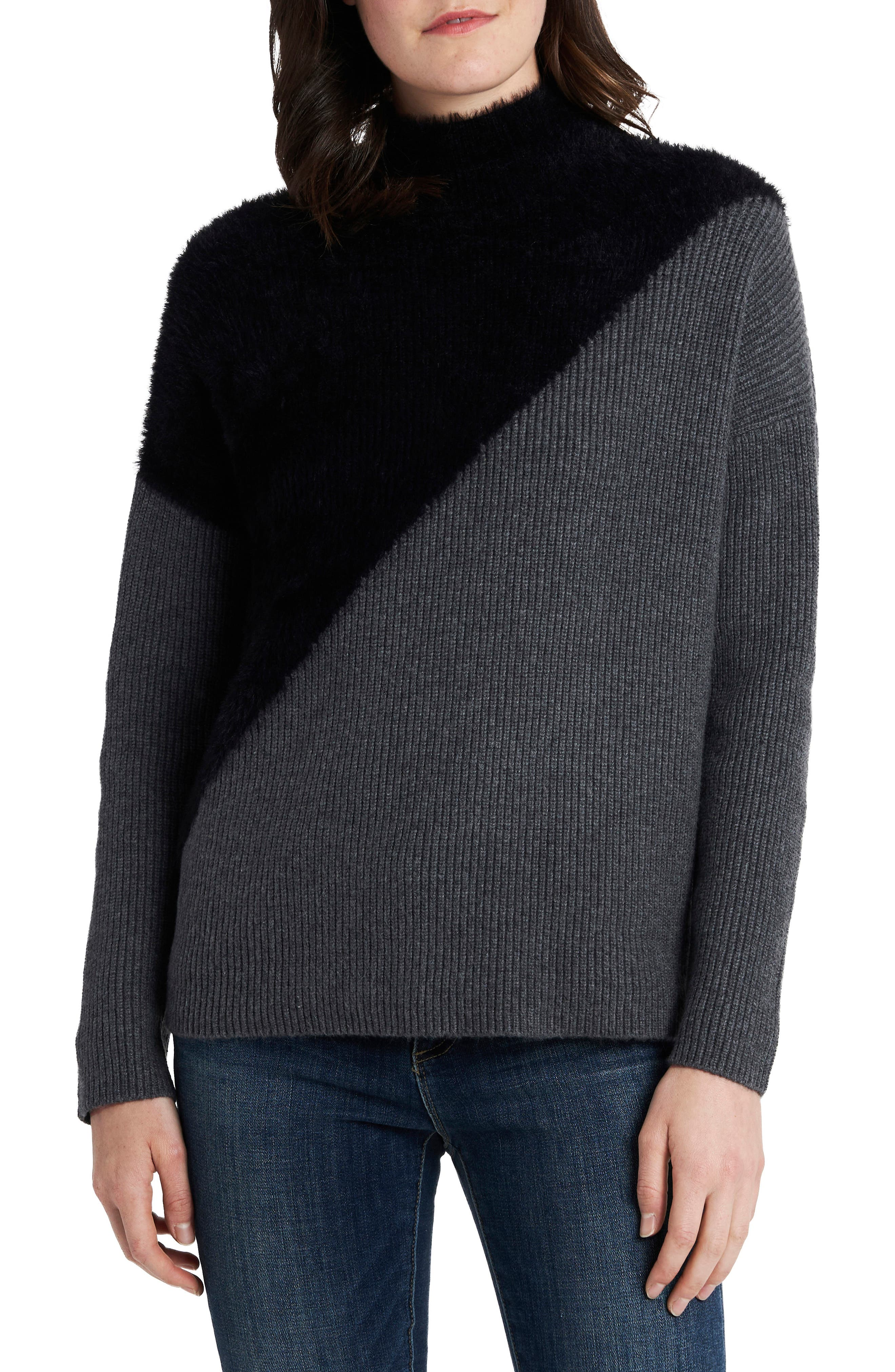 Image of Vince Camuto Diagonal Colorblock Mix Stitch Sweater