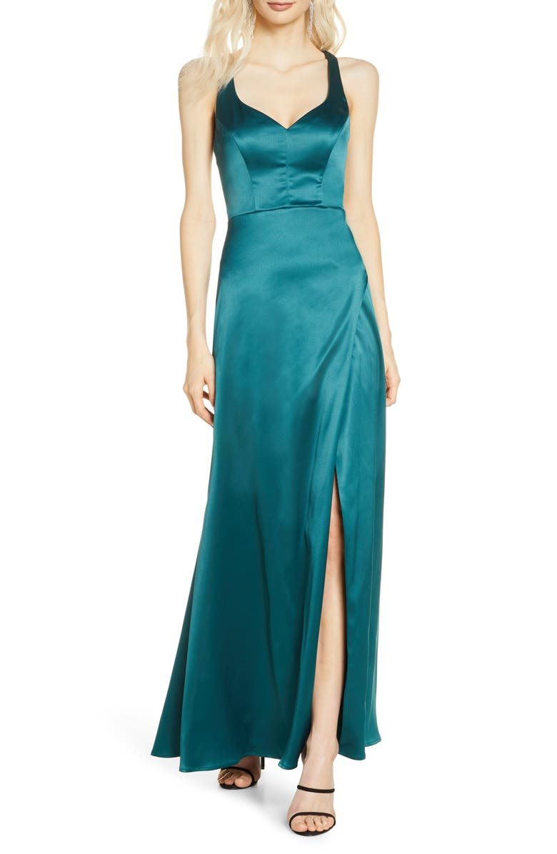 SEQUIN HEARTS Cage Back Satin Gown, Main, color, EMERALD