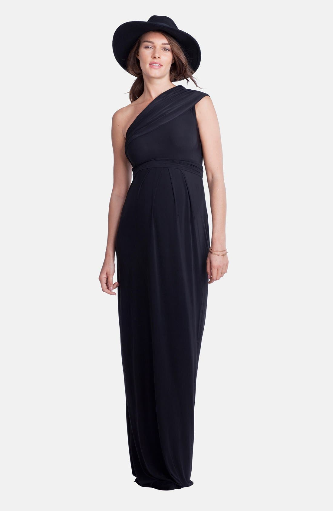 Belmont One-Shoulder Maternity Column Gown
