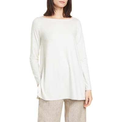 Eileen Fisher Ballet Neck Long Sleeve Tunic, Ivory