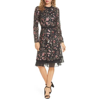 Chelsea28 Floral Embroidered Ruffle Long Sleeve Dress, Black