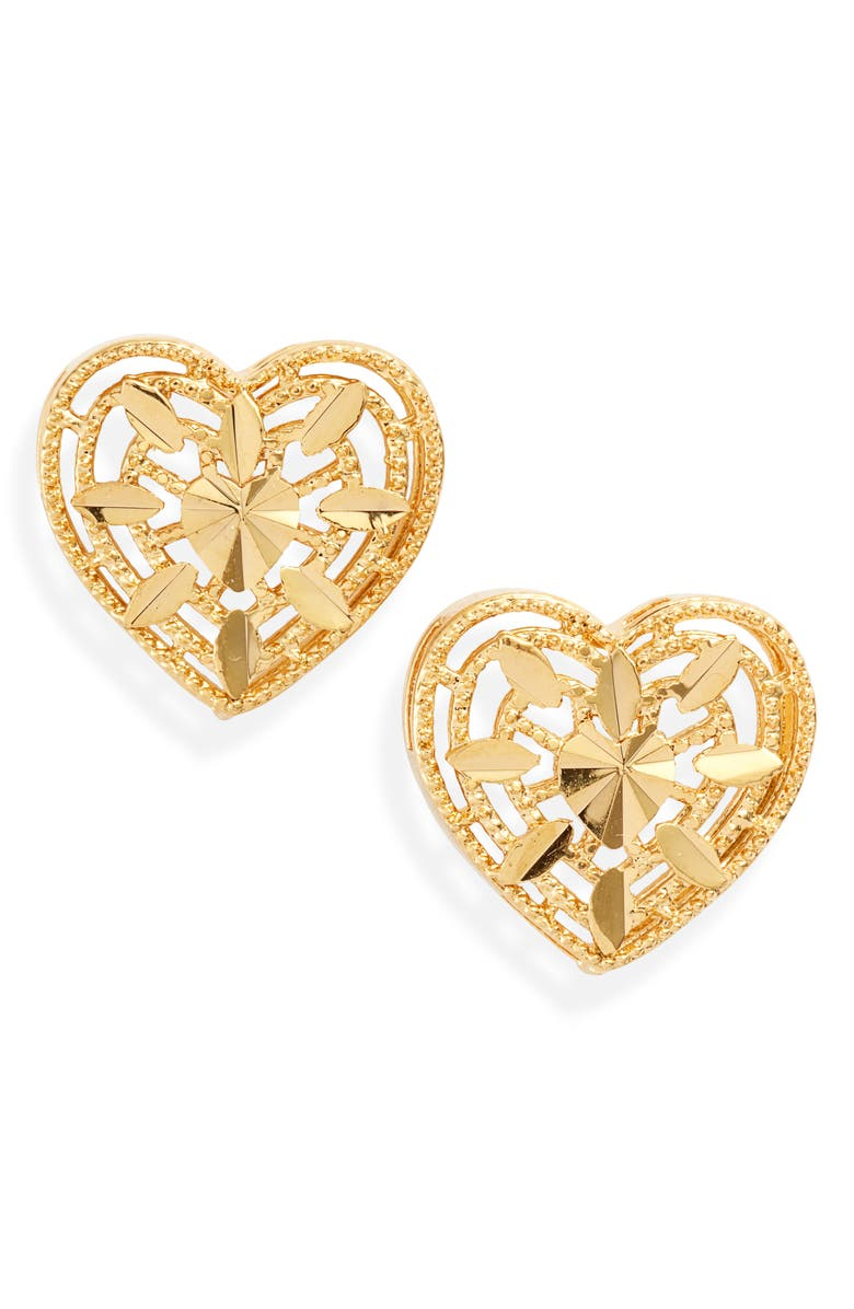BRACHA Yours Truly Heart Stud Earrings, Main, color, GOLD