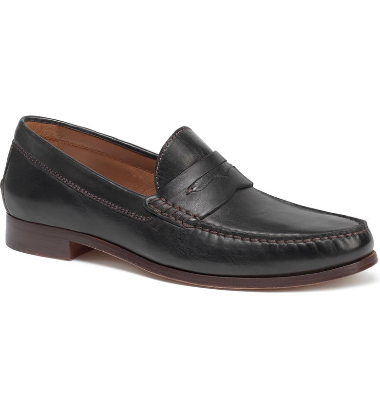 TRASK 'Sadler' Penny Loafer, Main, color, BLACK SHEEPSKIN