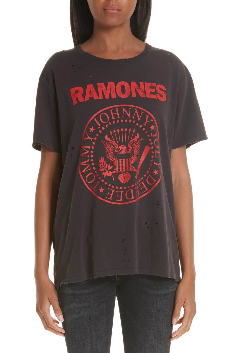 R13 Ramones Print Tee, Main, color, WASHED BLACK