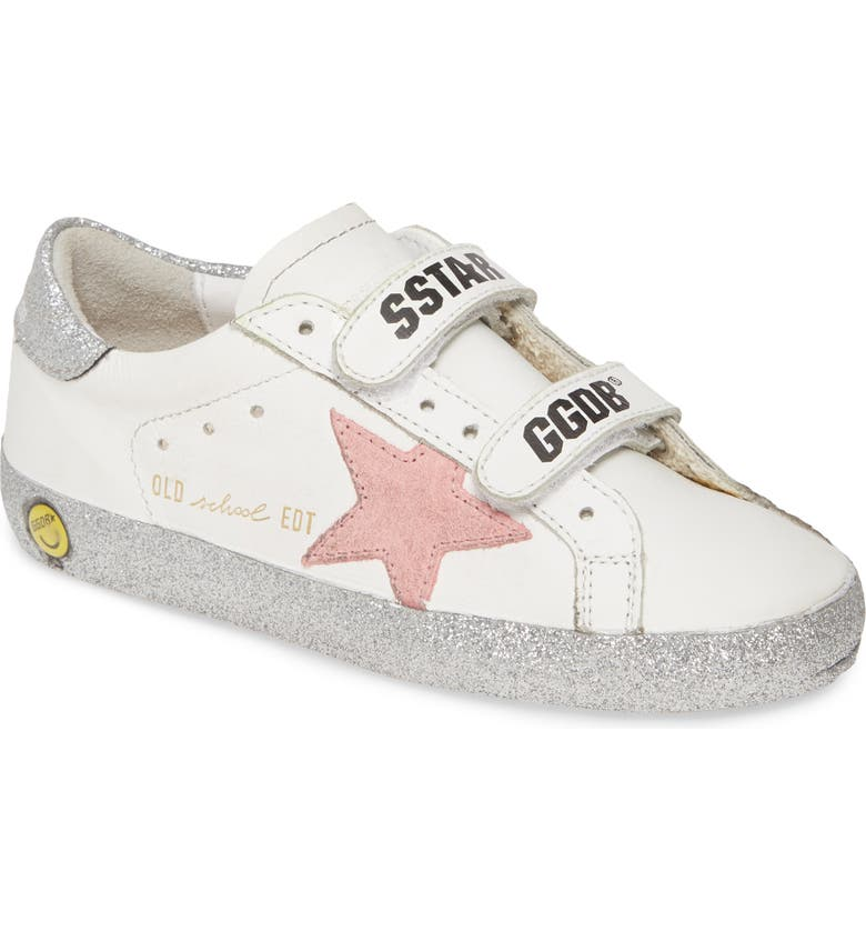 GOLDEN GOOSE Old School Glitter Sneaker, Main, color, WHITE LEATHER-SILVER