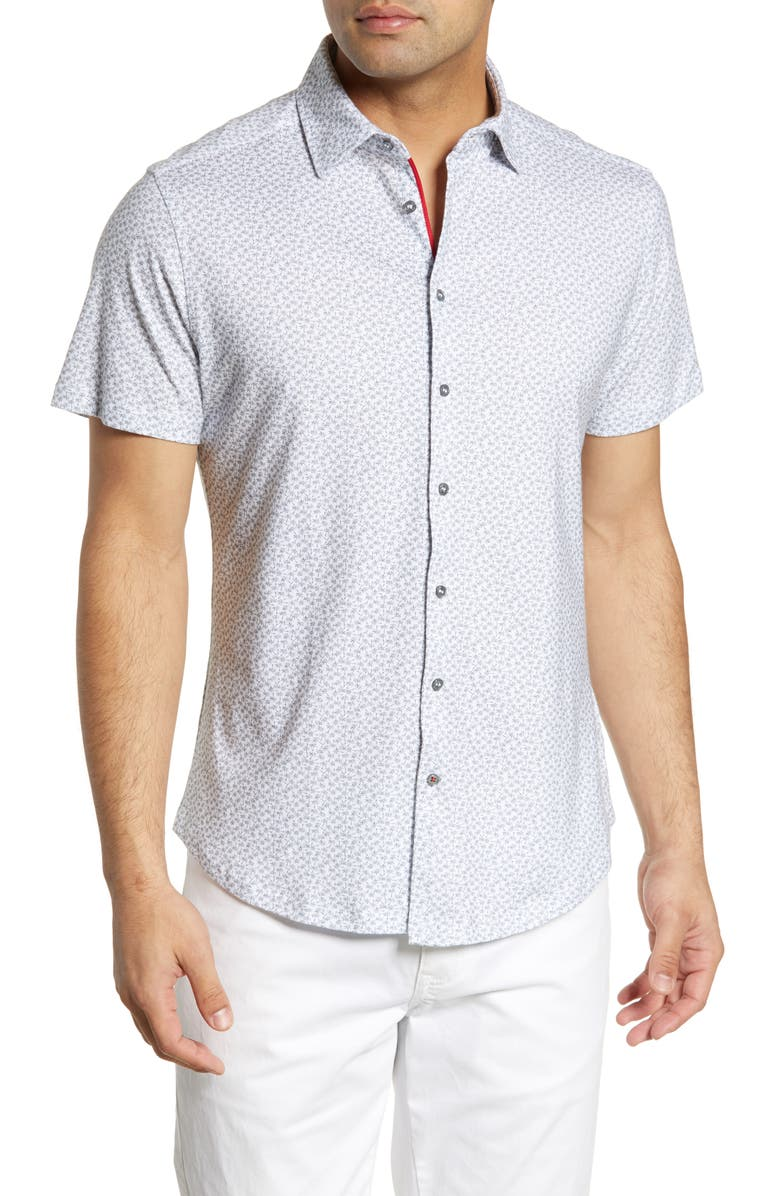 STONE ROSE Regular Fit Palm Tree Print Shirt, Main, color, GRAY