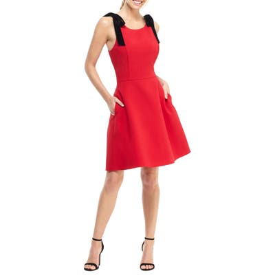 Gal Meets Glam Collection Zara Fit & Flare Dress With Velvet Shoulder Ties, Red