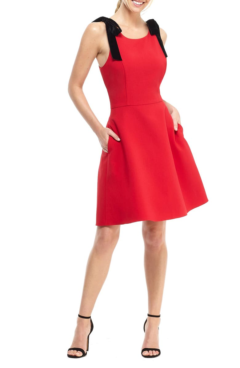 GAL MEETS GLAM COLLECTION Zara Fit & Flare Dress with Velvet Shoulder Ties, Main, color, RUBY