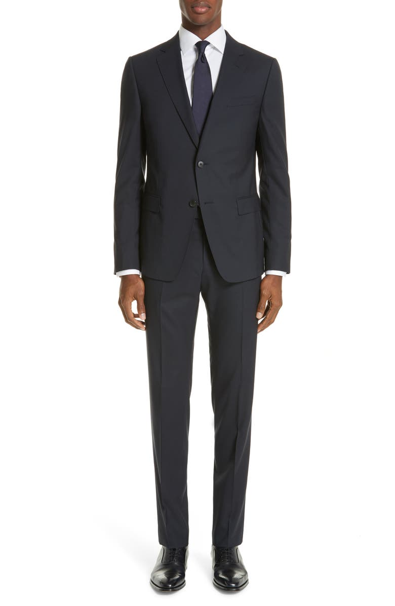 Z ZEGNA Trim Fit Solid Wool Travel Suit, Main, color, NAVY