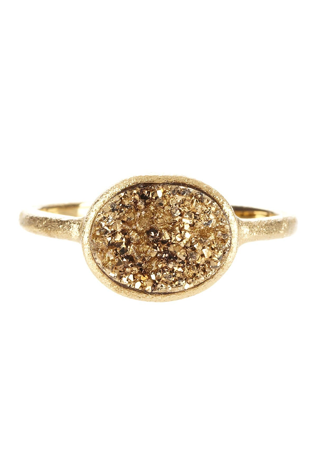 Rivka Friedman 18K Gold Clad East-West Gold Druzy Oval Ring at Nordstrom Rack
