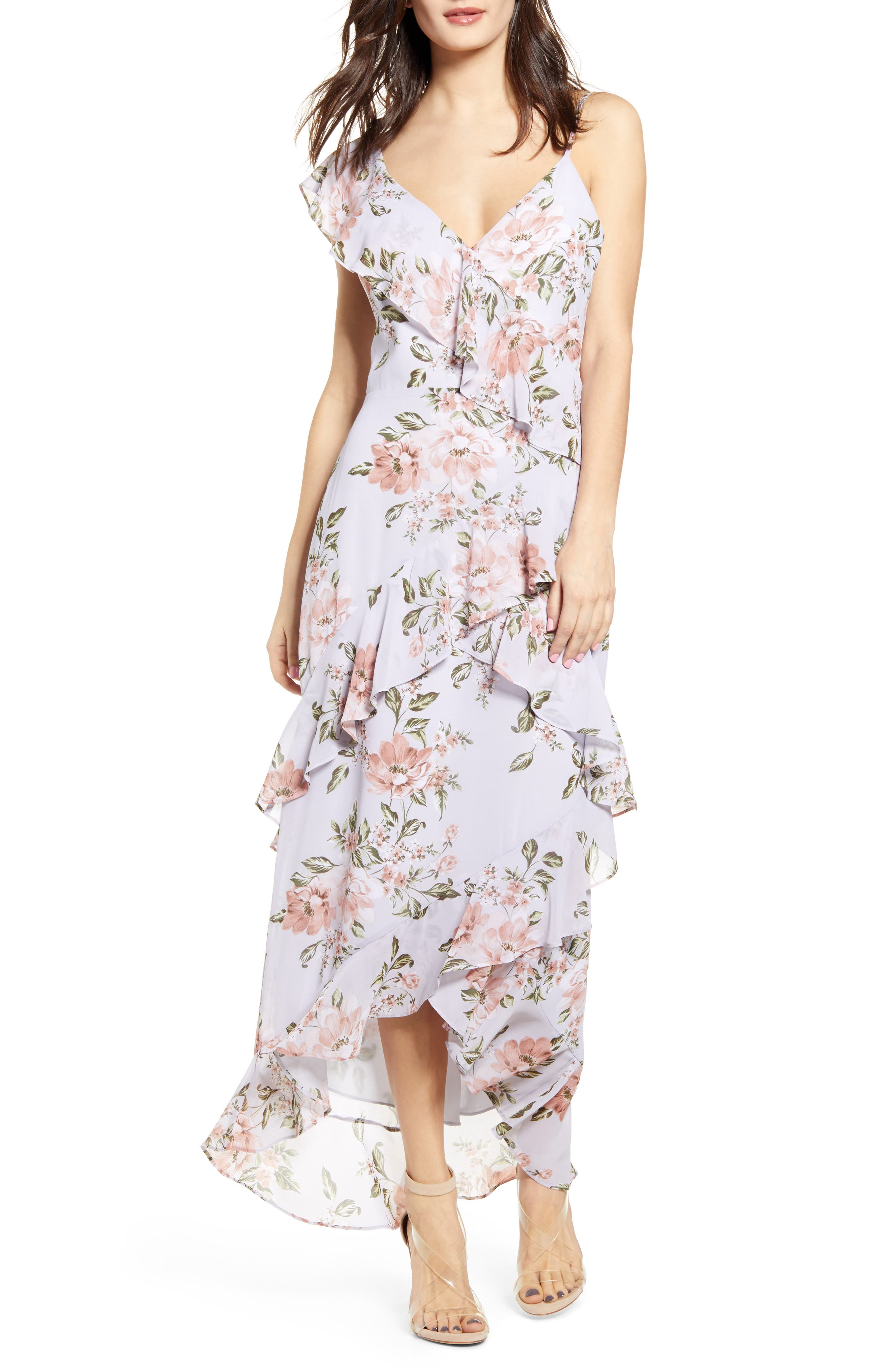 Wayf Morgana Floral Tiered Ruffle Asymmetrical Sleeve Maxi Dress, Blue