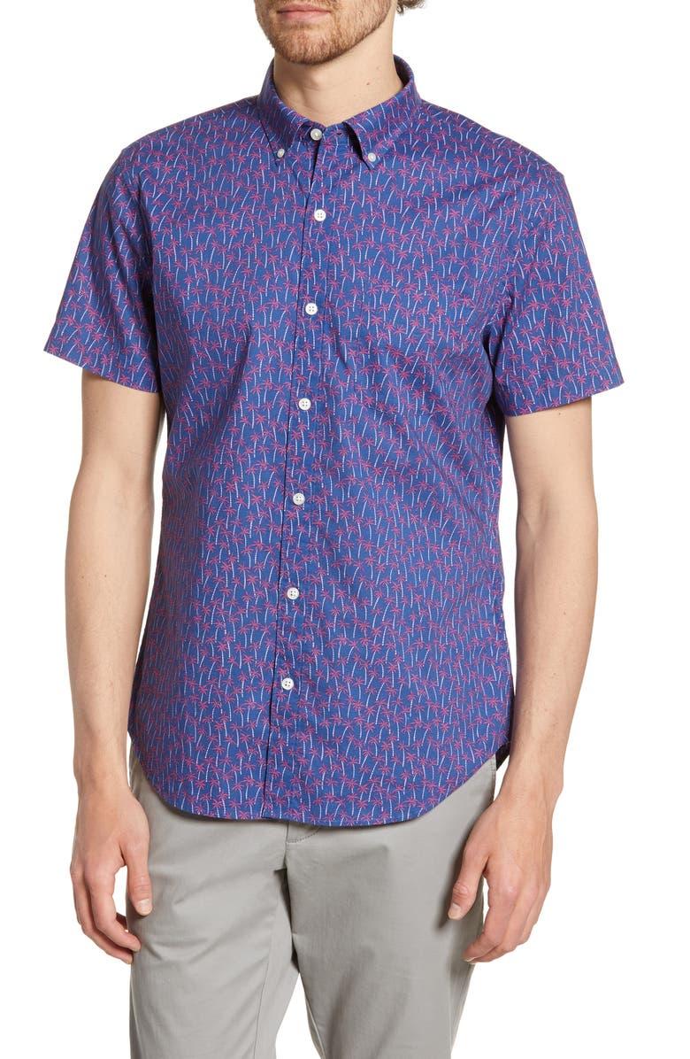 BONOBOS Riviera Slim Fit Palm Print Shirt, Main, color, PALM TREE