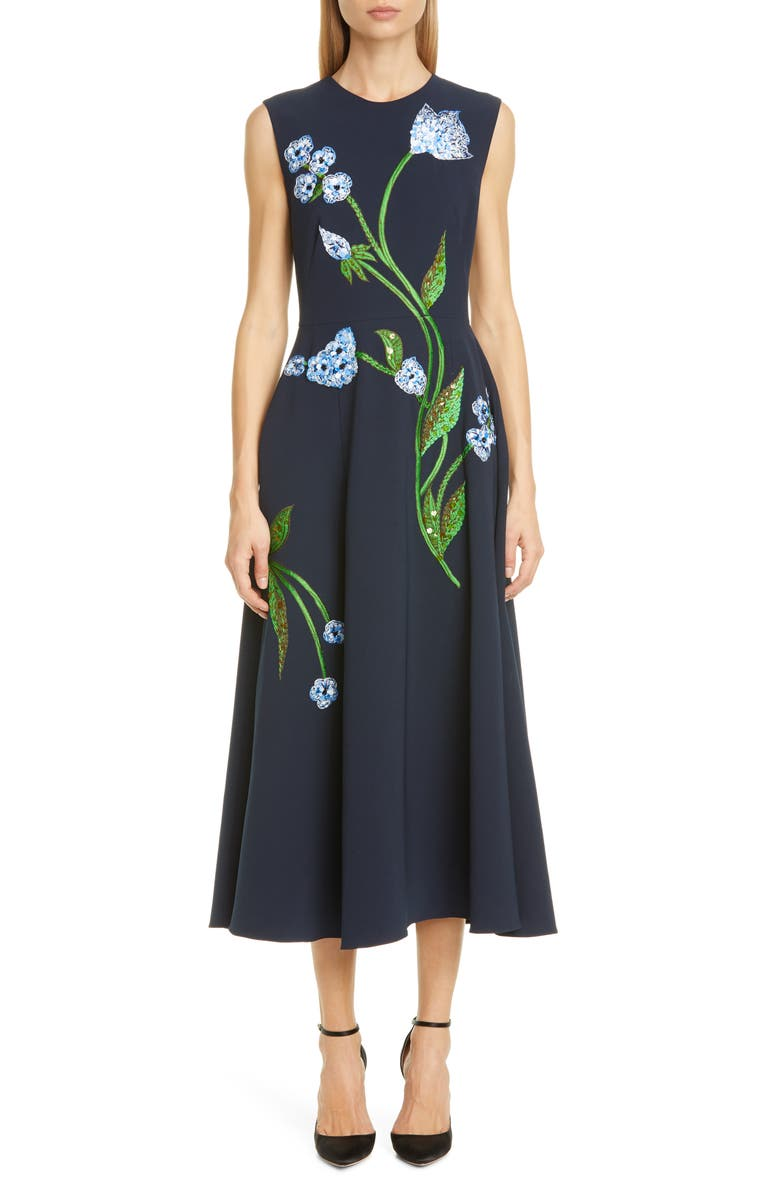 LELA ROSE Floral Embroidered Stretch Crepe Midi Dress, Main, color, NAVY