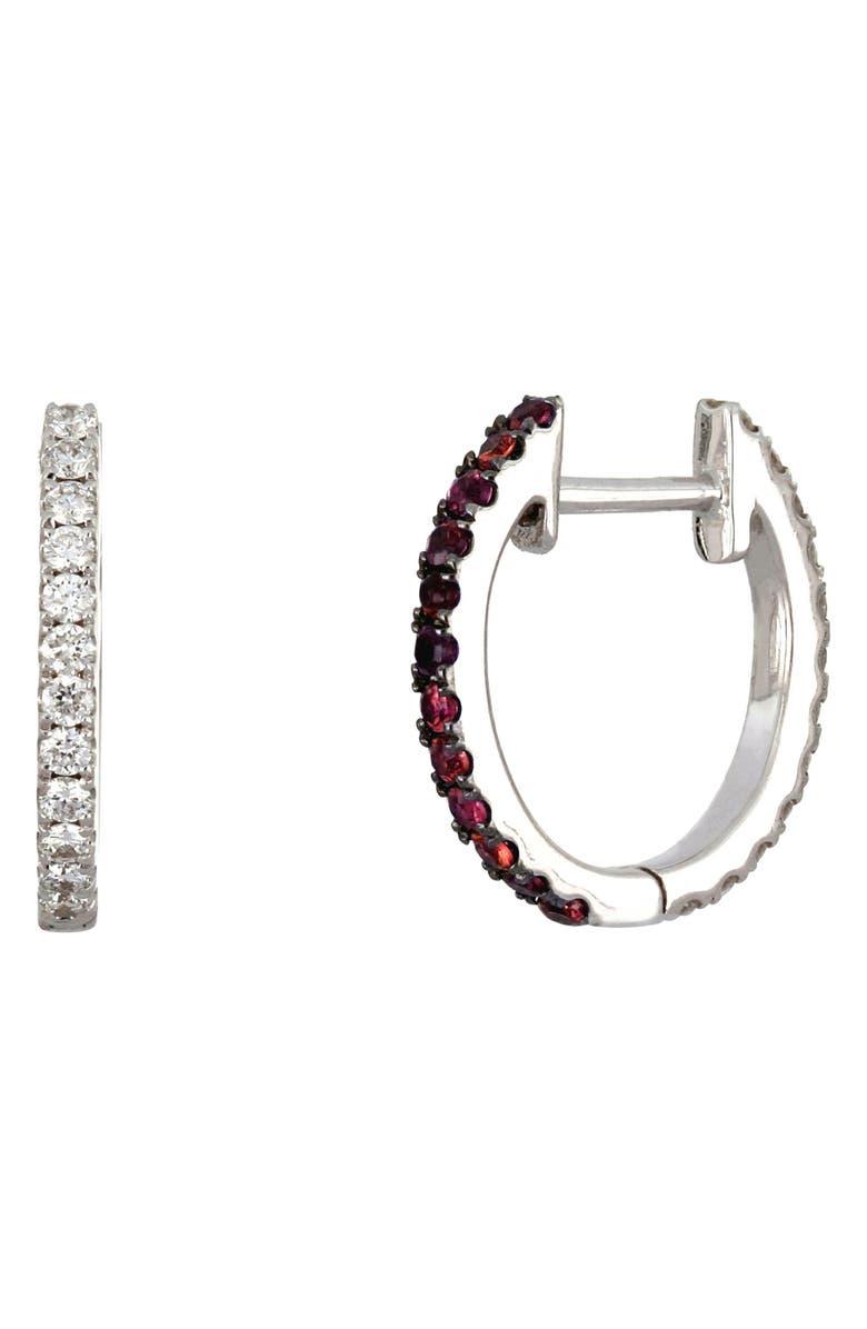 BONY LEVY Reversible Diamond & Ruby Hoop Earrings, Main, color, WHITE GOLD/ RUBY/ DIAMOND