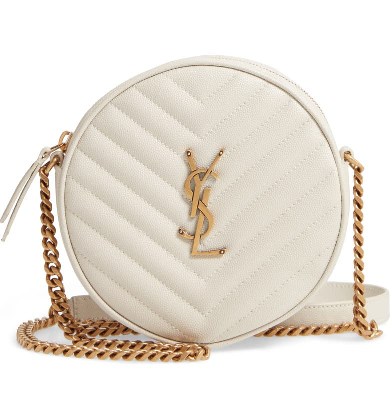 SAINT LAURENT Jade Matelassé Leather Crossbody Bag, Main, color, CREMA SOFT