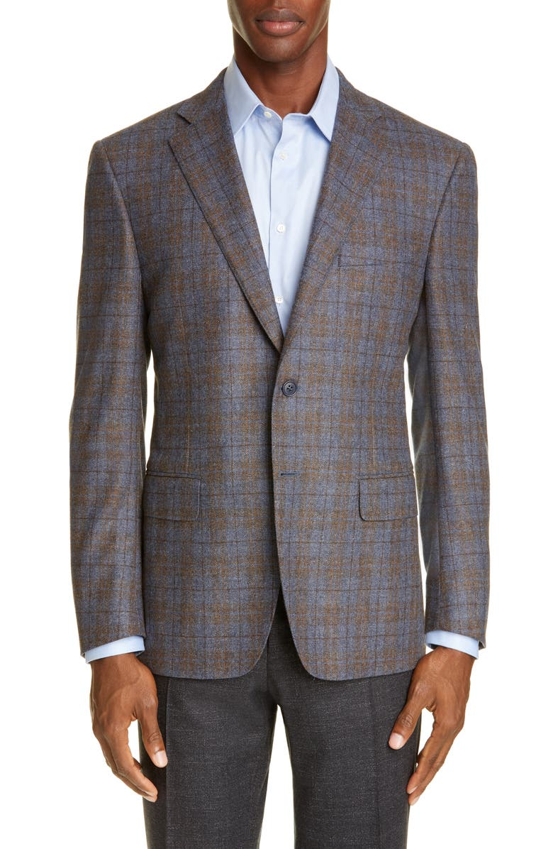 CANALI Sienna Soft Classic Fit Plaid Wool & Cashmere Sport Coat, Main, color, 230