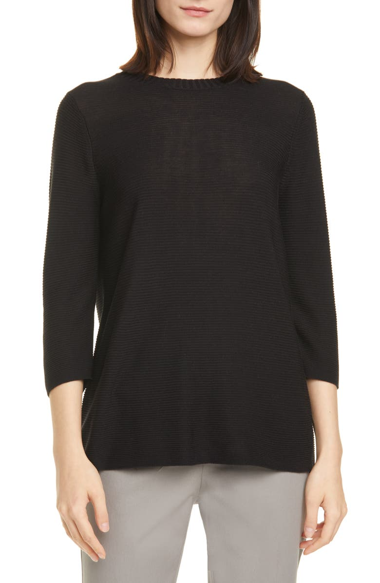 EILEEN FISHER Horizontal Ribbed Crewneck Sweater, Main, color, BLACK
