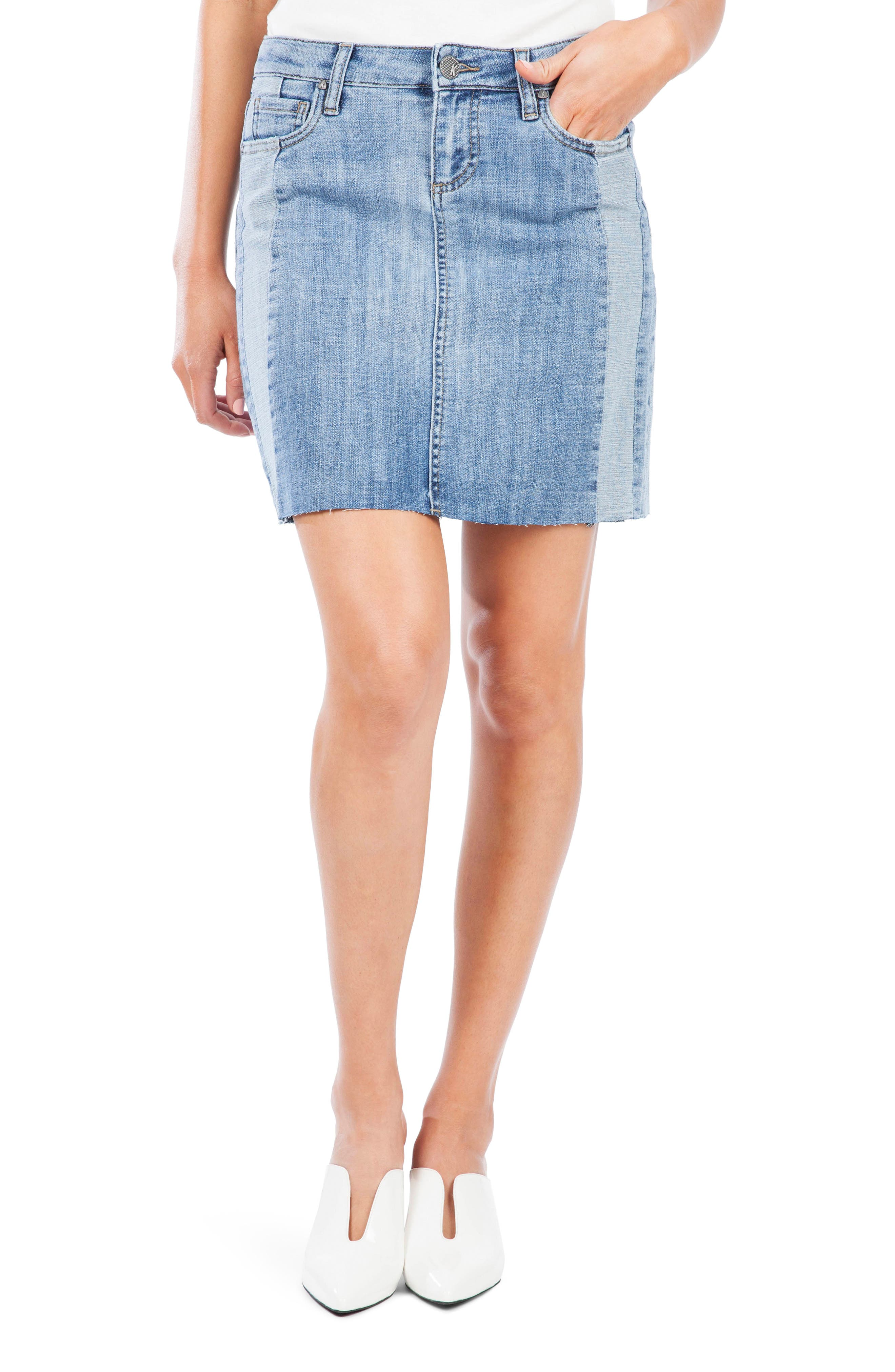 From finely faded to beautifully bleached out, this raw-hem mini is ready to be your denim-day fave. Style Name: Kut From The Kloth Joey Contrast Detail Raw Hem Denim Miniskirt. Style Number: 5869792. Available in stores.