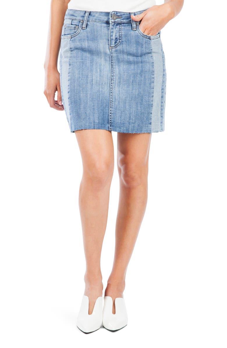 KUT FROM THE KLOTH Joey Contrast Detail Raw Hem Denim Miniskirt, Main, color, EQUIVALENT W/LI