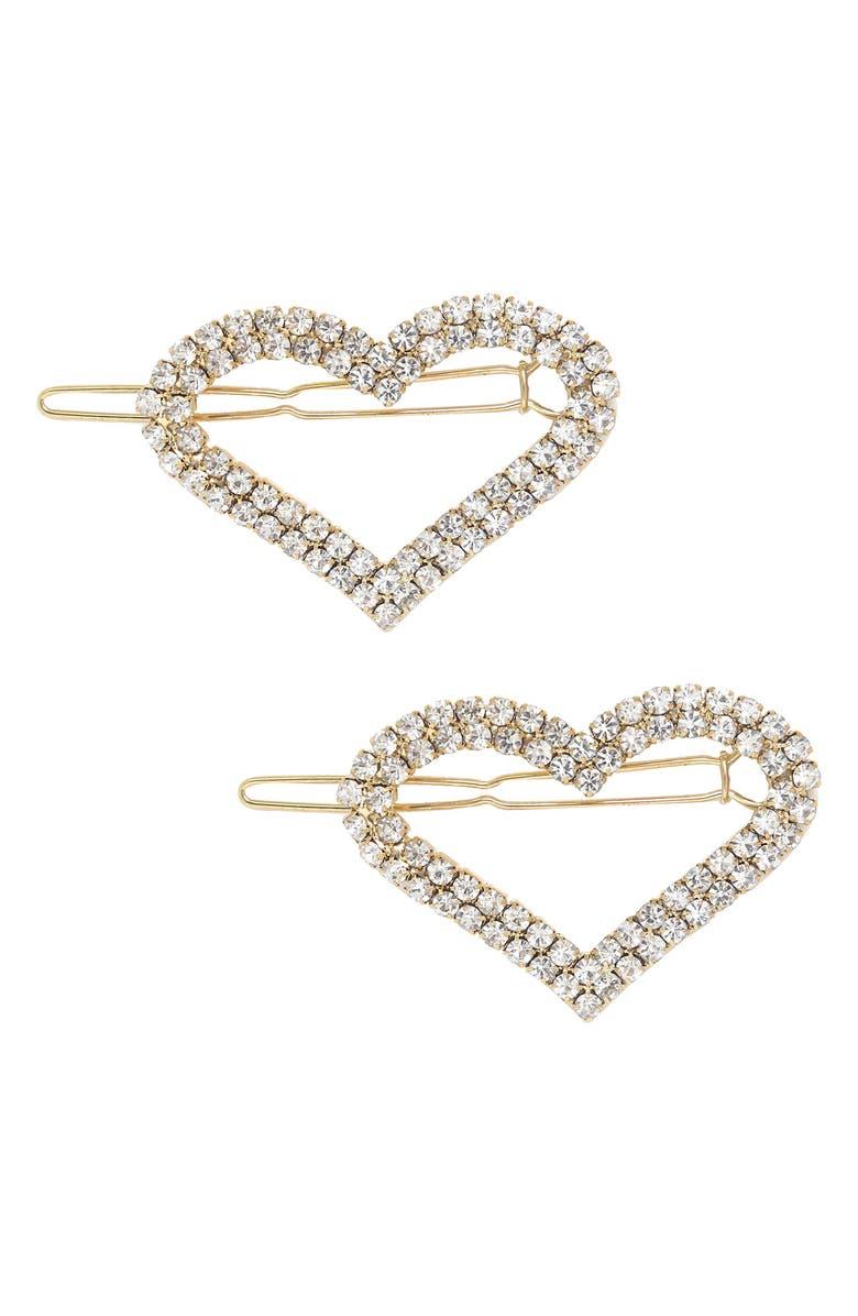 ETTIKA Set of 2 Crystal Heart Barrettes, Main, color, GOLD