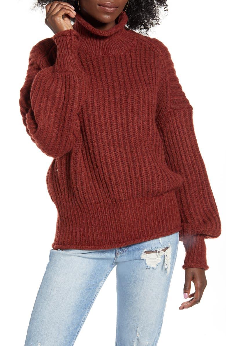 VERO MODA Apula Turtleneck Sweater, Main, color, MADDER BROWN