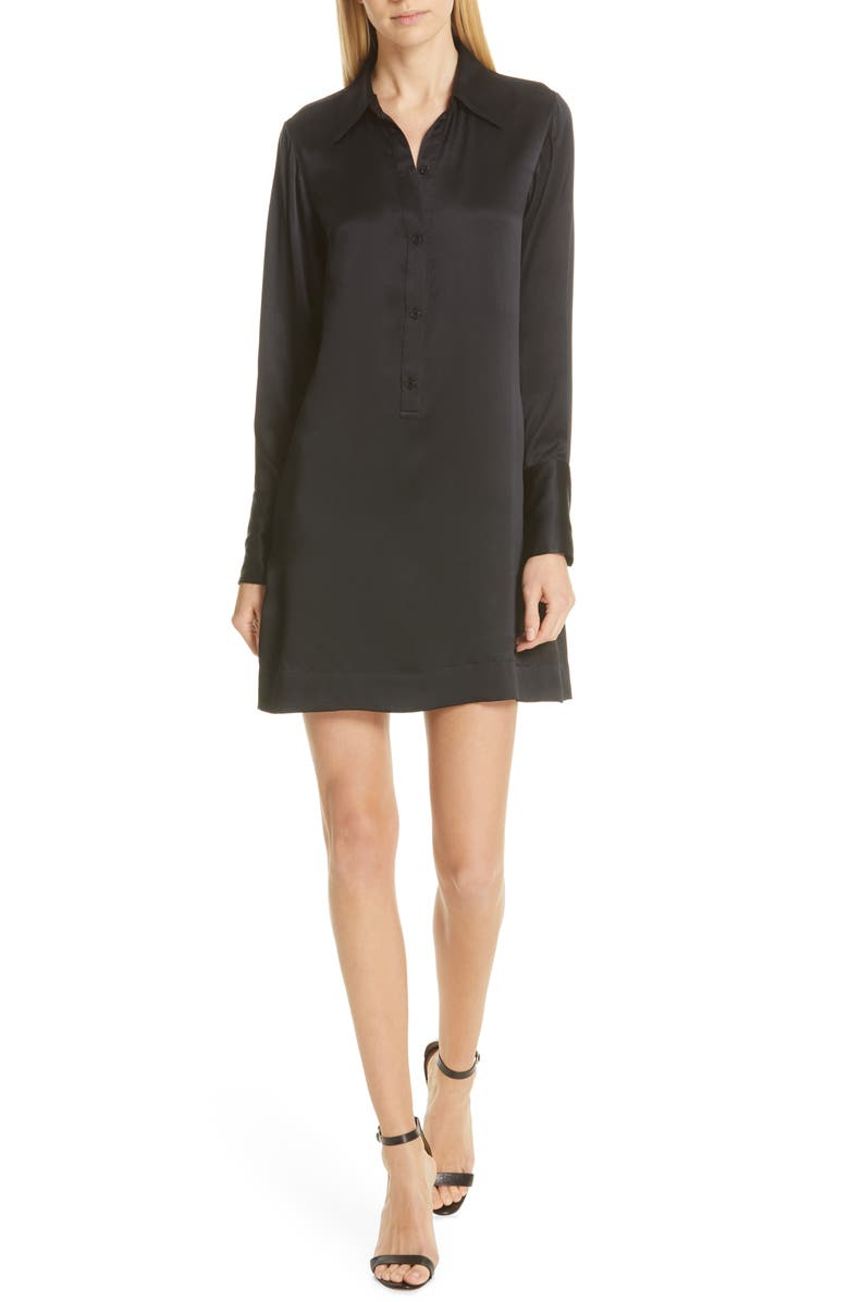 NILI LOTAN Cassidy Silk Shirtdress, Main, color, 003