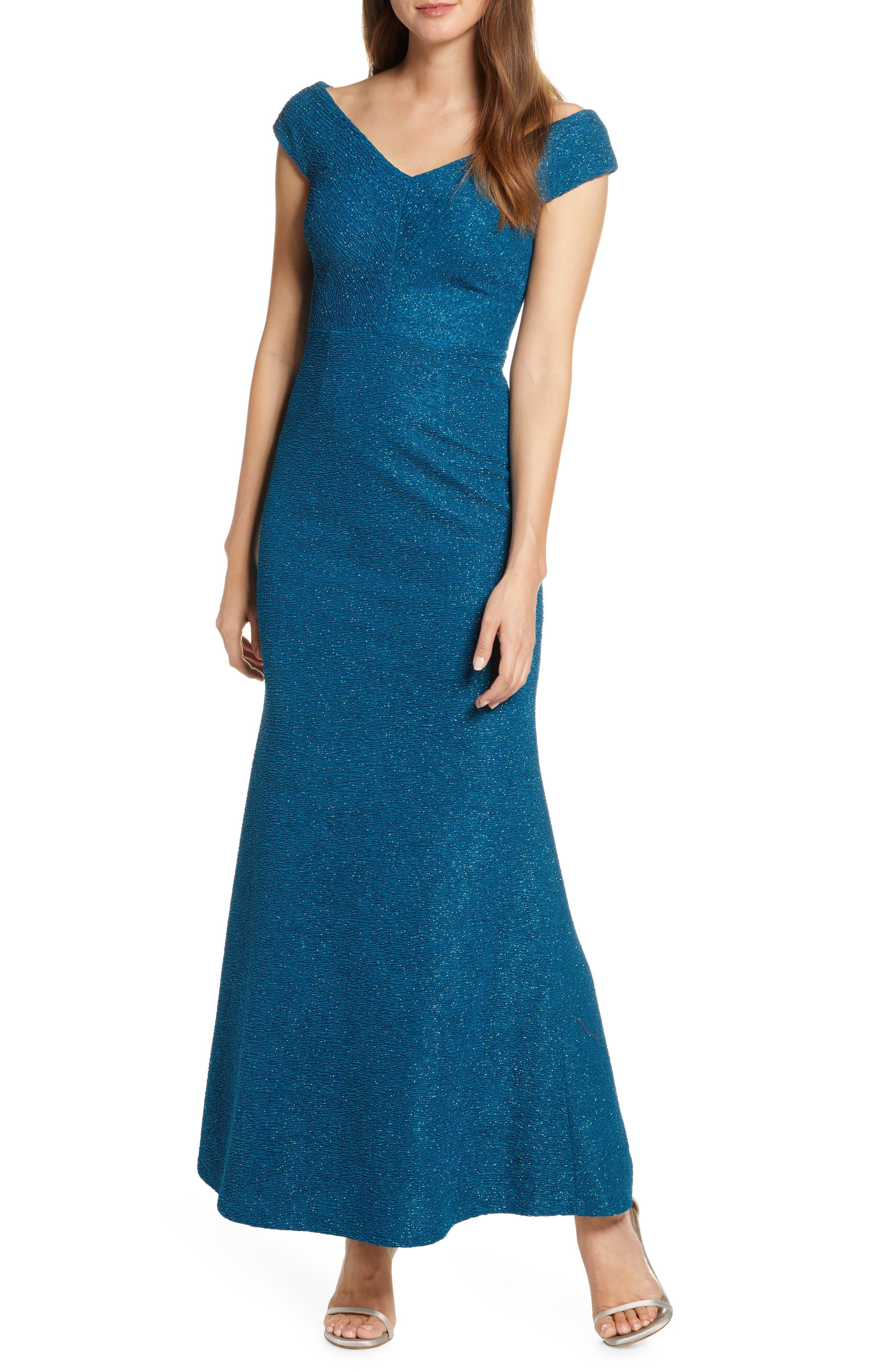 Eliza J Wide V-Neck Sparkle Trumpet Gown, Blue/green