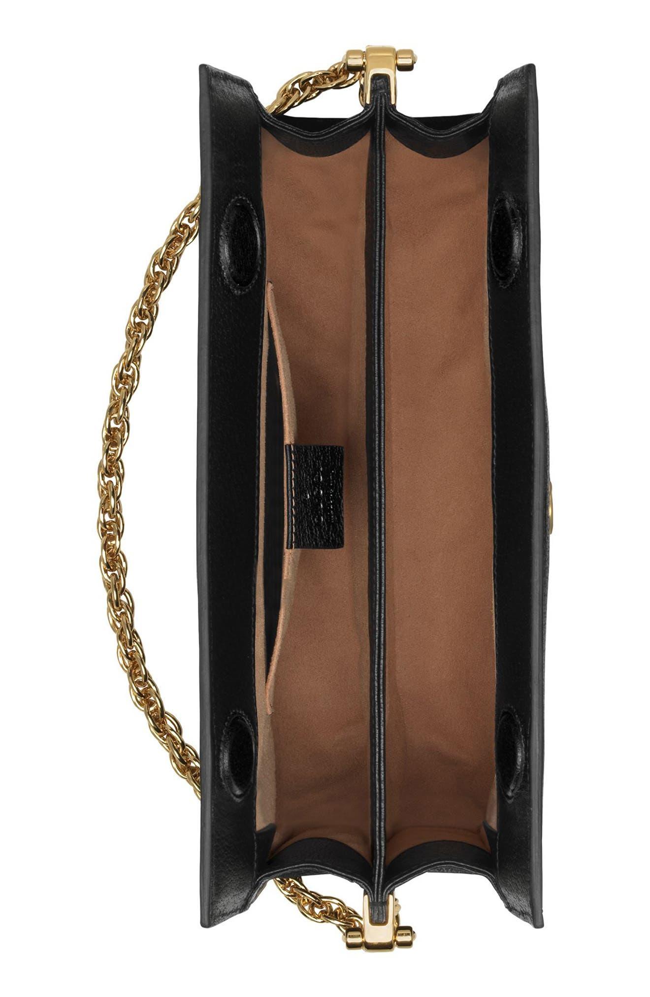 ,                             Small Ophidia Leather Shoulder Bag,                             Alternate thumbnail 3, color,                             NERO/ VERT RED VERT