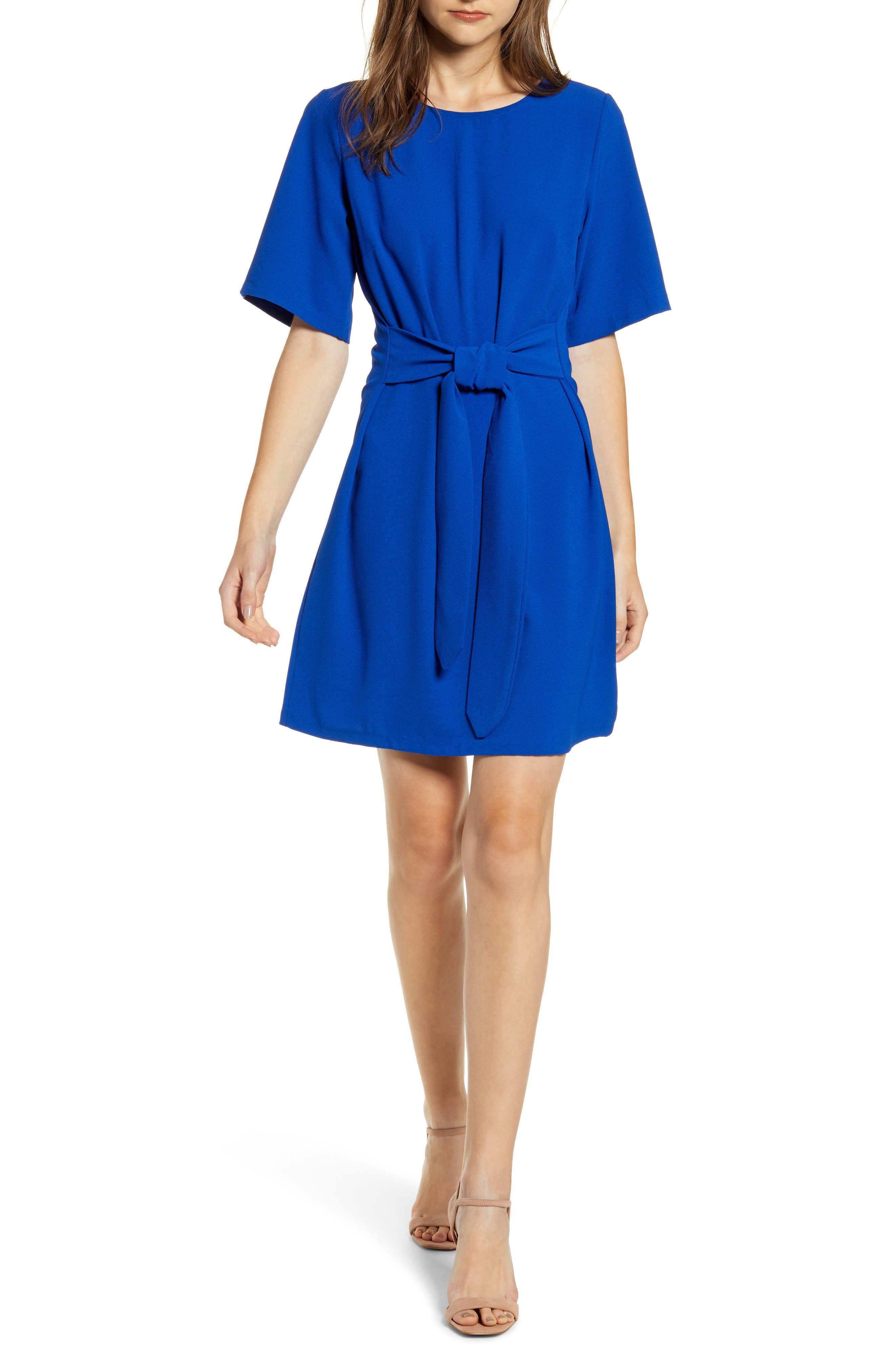 Chelsea28 Front Tie Shift Dress, Blue