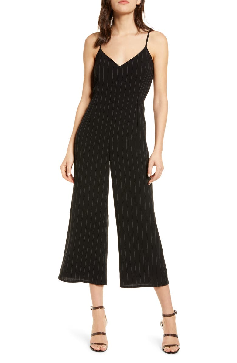 CUPCAKES AND CASHMERE Lana Stripe Sleeveless Jumpsuit, Main, color, 001