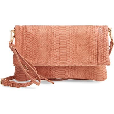 Sole Society Marlena Faux Leather Clutch. crossbody Bag - Coral