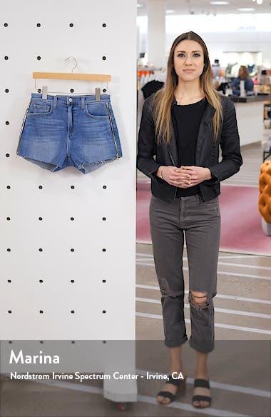 High Waist Side Zip Denim Shorts, sales video thumbnail