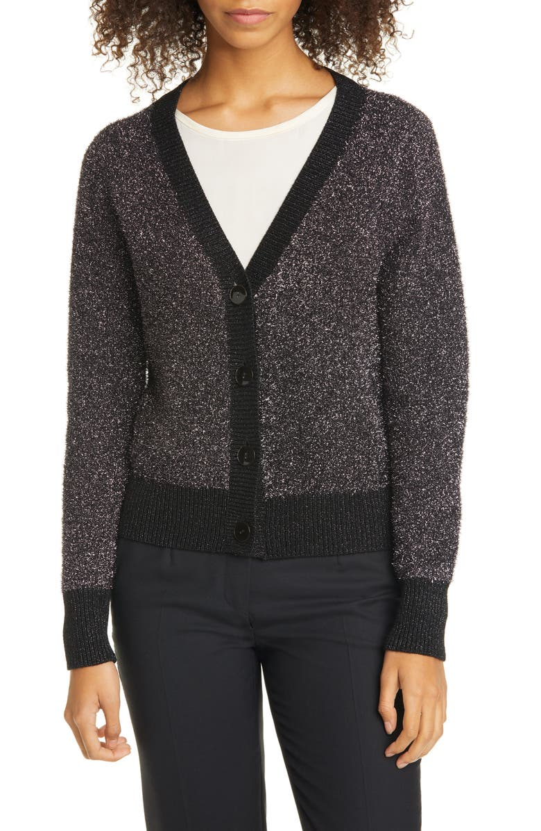 KATE SPADE NEW YORK sparkle cardigan, Main, color, 008
