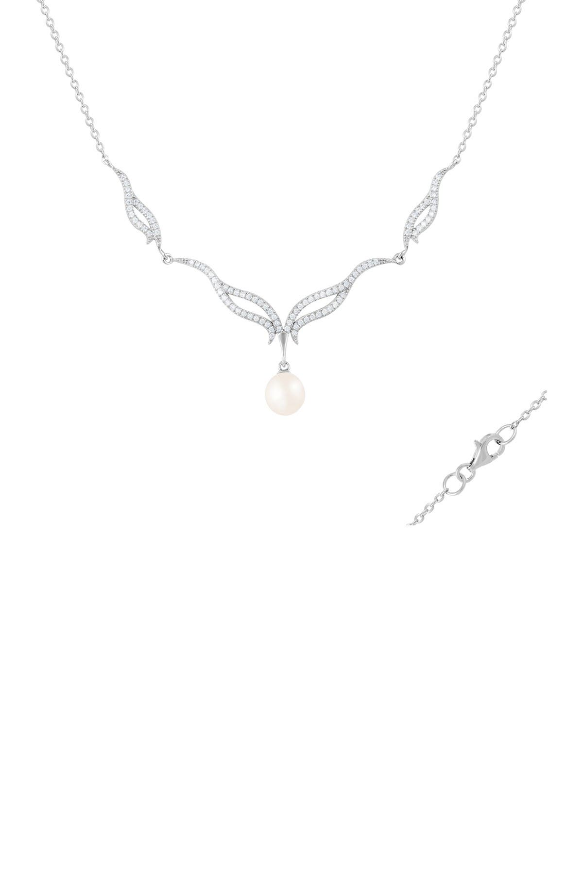 Image of Splendid Pearls 8-9mm Freshwater Pearl Fancy CZ Pendant Necklace