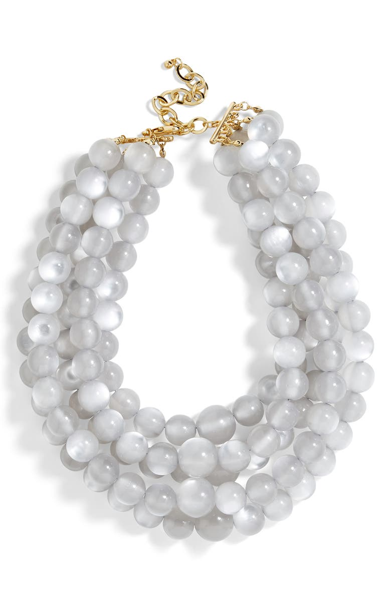 BAUBLEBAR Cassarah Beaded Multistrand Necklace, Main, color, GRAY