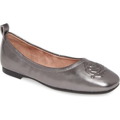 Taryn Rose Rosalie Water Resistant Rose Embossed Ballet Flat- Grey